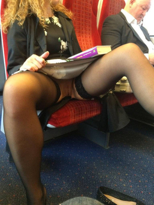 Woman flashing pussy in public upskirt no panties