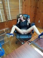Naked secretary at the office upskirt no panties