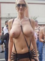 Hot Blonde Woman Topless at Public Parade