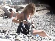 Sexy Girl with Awesome Natural Big Tits Caught Topless at Beach