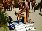 Nudist Sex on the Beach Big Swinger Group Waiting their Turn