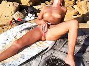 Hot Nudist Wife Masturbates at Beach