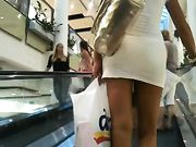 Hot Woman in Tight Dress Filmed in Mall