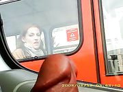 Guy Flashing Dick in the Car to a Girl in a Bus