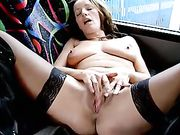 Horny Woman Playing with Herself in a Public Bus Parked